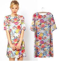 2014 New Fashion Europe Vintage Casual Mini Print O-neck Zipper Women Chiffon Winter Dress 007
