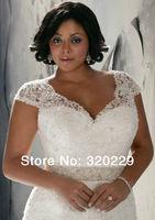 Free Shipping!! 2014 Hot New Cap Sleeve V- Neck Formal Bridal Gown Wedding Dress  LJ-843