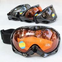 Free Shipping Double Lens Polarized Anti Fog Windproof Ski Goggles UV400 Protection Europe Style Snow Glasses black frame