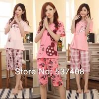 2014 women's short-sleeve summer shorts sleepwear cartoon style lounge set women's robes of cotton long nightgownpajamas