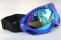 New Double Lens Polarized Anti Fog Windproof Ski Goggles UV400 Protection Europe Style Snow Glasses Blue frame blue purple lens