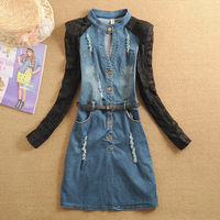 Free Shipping! 2014 Women's spring lace patchwork stand collar long-sleeve denim one-piece dress slim hip dress