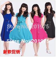 Top sale high quality fashion Summer 4 colors fashion Sweet Lady chiffon dress/women dress+free gift