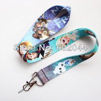 wholesale 10pcs Cartoon blue Frozen  Lanyard/ MP3/4 cell phone/ keychains /Neck Strap Lanyard Free shipping