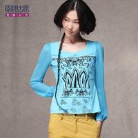 2014 spring national trend print basic t shirt,slim lantern sleeve female long-sleeve t-shirt ,hot sales,free shipping
