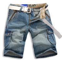 HOT sale water wash pockets cargo pants men's casual jeans cool shorts 6XL plus size 48 denim capris Free shipping