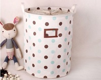 Round Jute and canvas  Dirty Clothes Casket Laundry basket  Round dot design have  tighten belt box D35*H45cm with lable