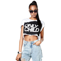 2014 Blusas Femininas Tops For Women Punk Only Child Letter Short-sleeve O-neck Short Design Female Loose T-shirt Shirt Haoduoyi