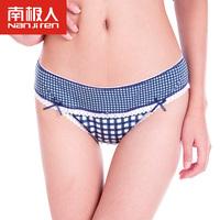 Quality panties women's sexy lace brief mid waist trigonometric plaid seamless panties belts