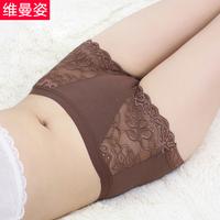 Women's women's mid waist bamboo fibre briefs lace transparent sexy female panties