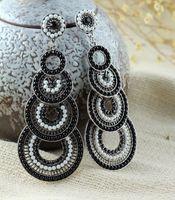 Hot Selling Vintage Statement Double Circles Pendants Bohemia Long Earrings Exclusive Alloy Drop Earring E010431