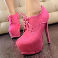 Spring 2014  heels women pumps platform pumps high heels women boots waterproof  high-heeled lace deep mouth singles shoes