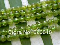 Free Shipping (2 strands/set) natural green peridot  5mm round  loose beads stone