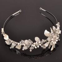 Handmade Wedding Tiara Headband Crystal Pearl Flower Head Piece Bride Vintage Bridal Headpieces Hair Jewelry AccessoriesWIGO0266