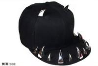 Punk rivet hiphop hip-hop baseball flat brim hat horn hat birthday gift