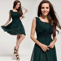 2014 New summer fashion women's dress mulberry silk chiffon gentle expansion female women one-piece dress green