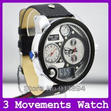New Original Weide Fashion Brand Men Watch Big Size (5.7cm) 2 Quartz Analog Dials 1 Digital Dial Leather Strap Watches for Men(China (Mainland))