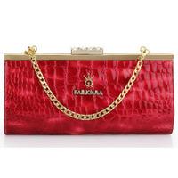 2014 Fashion Vintage Style Genuine Leather Diamond Evening Party Bag For Women Clutch Bag Handbag Chain Shoulder Bag Banquet Bag