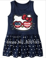 2014 New Arriving Baby Girls Summer dress Lovely KT cat princess dress 5pcs/lot