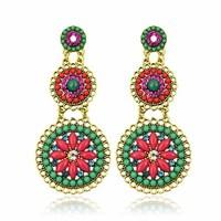 Hot High Quality Women Long Big Alloy&Resin Pendant Vintage Earrings Handmade Bohemia/Ethnic Statement Earring Jewelry ER-010152