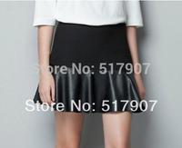 Wholesale Leather Mini Skirt, Sexy Leather Short Skirts, Women High Quality Stretchable Waist Short Mini Skirts