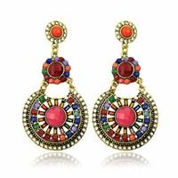 Hot High Quality Women Long Big Alloy &Resin Pendant Vintage Earrings Handmade Bohemia/Ethnic Statement Earring Jewelry ER-07962