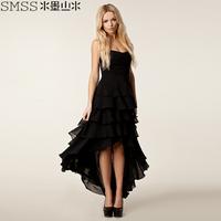 Ink landsides tube top asymmetrical chiffon fashion women's banquet dress long design one-piece dress layered dress puff