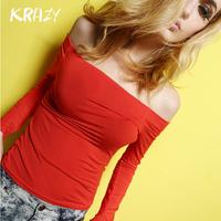 Krazy 2014 spring slit neckline chromophous strapless slim basic shirt long-sleeve sexy tight-fitting t-shirt 10032