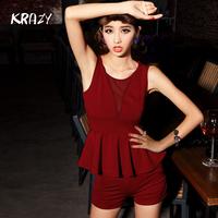 Krazy fashion usuginu perspective sexy low-cut vest high waist slim shorts set 799
