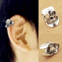 1167 fashion punk earrings skull bone ring clip-on stud earring
