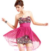 Fashion women's 2013 V-neck low-cut sexy tight-fitting racerback slim hip decoration paillette one-piece dress