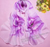 2014 scarf chiffon silk scarf autumn and winter women's cape dual design long scarf