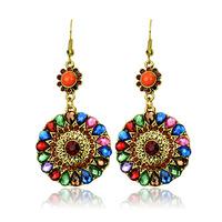 Hot High Quality Women Long Big Alloy &Resin Pendant Vintage Earrings Handmade Bohemia/Ethnic Statement Earring Jewelry ER-05915
