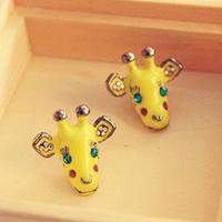 Fashion smart kpop lovely cute yellow giraffe style cartoon animal stud earring for girl child women #1135