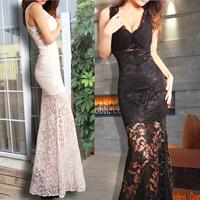2014 sexy lace spaghetti strap full dress evening dress perspectivity low-cut fashion long design lace one-piece dress