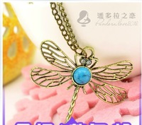 (min order$10) Free shipping! New 2014 korea Jewelery Accessories vintage cutout dragonfly gem long design necklace #4248