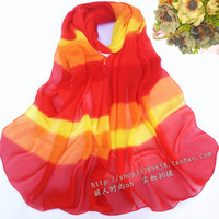 2014 scarf chiffon silk scarf autumn and winter women's color cape dual design long scarf