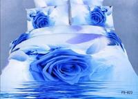New Beautiful 4PC 100% Cotton Comforter Duvet Doona Cover Sets FULL / QUEEN / KING bedding set 4pcs white blue rose op-854