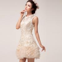 2014 fashion lace sweet short  bridesmaids sweet short mini prom dress custom free shipping