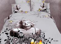 New Beautiful 4PC 100% Cotton Comforter Duvet Doona Cover Sets FULL / QUEEN / KING bedding set 4pcs grey sexy Marilyn Monroe op0