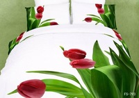 New Beautiful 4PC 100% Cotton Comforter Duvet Doona Cover Sets FULL / QUEEN / KING bedding set 4pcs white green red tulip