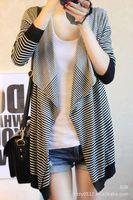 Free shipping 2014 new explosion models irregularly striped long-sleeved knit cardigan shawl knitted shawl big yards