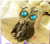 Free shipping! Europe Retro Fashion popular 2014 personality scales blue gem eye owl leaf long female necklace #4193