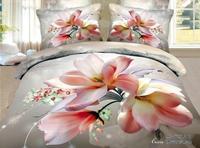 New Beautiful 4PC 100% Cotton Comforter Duvet Doona Cover Sets FULL / QUEEN / KING bedding set 4pcs grey pink  flower Mangnolia