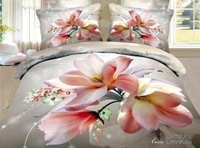 New Beautiful 4PC 100% Cotton Comforter Duvet Doona Cover Sets FULL / QUEEN / KING bedding set 4pcs grey pink  flower Mangnolia