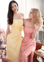 Low Price Fine Design Sheath Strapless Handmade Flower High Slit Chiffon Floor-length Bridesmaid Dresses Prom Gowns BD247