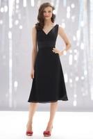 A-line Black Chiffon Wide Straps V-neck Knee-length Bridesmaid Dresses for New Choice New Life BD273