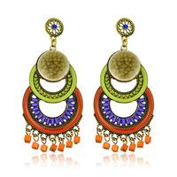 Hot High Quality Women Long Big Alloy&Resin Pendant Vintage Earrings Handmade Bohemia/Ethnic Statement Earring Jewelry ER-019777