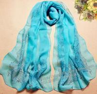 2014 scarf chiffon silk scarf autumn and winter women's design long scarf cape dual