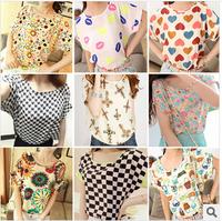 2014 summer t-shirt o-neck all-match batwing sleeve print chiffon shirt short-sleeve T-shirt